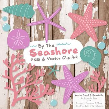 Garden Party Coral & Seashells Clipart