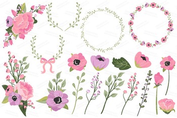 Garden Party Floral Bicycle Vectors - Flower Clipart, Peonies Clip Art, Poppies