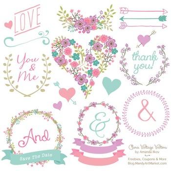 Garden Party Floral Heart Clipart