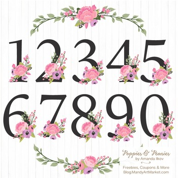 Garden Party Floral Numbers With Vectors - Flower Clip Art, Peonies Clipart