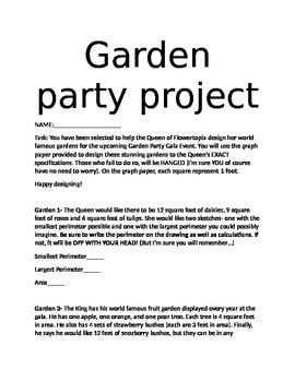 Garden Party Project- Perimeter and Area