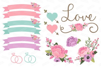 Garden Party Wedding Floral Clipart & Vectors - Flower Clip Art, Banners