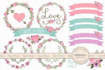 Garden Party Wedding Floral Clipart & Vectors - Flower Cli