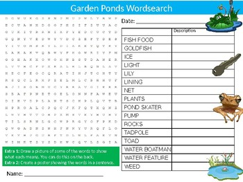 Garden Ponds Wordsearch Puzzle Sheet Keywords Natural Insetcs Animals