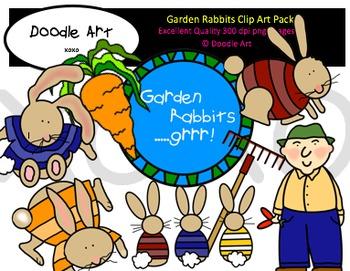 Garden Rabbits Clipart Pack
