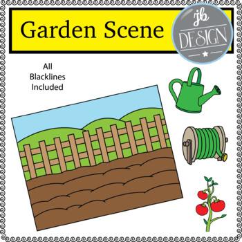 Garden Scene (JB Design Clip Art for Personal or Commercial Use)
