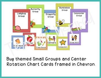 Garden Theme or Bug Theme Classroom Pack with Chevron Frames