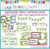 Garden Theme or Bug Theme Classroom Pack with Chevron Frames