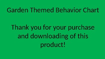 Garden Themed Behavior Chart