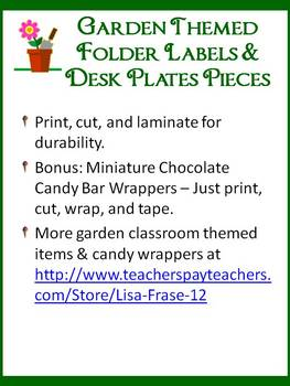 Garden Themed Folder Labels, Desk Plates, & Mini Choco Bar Wraps