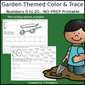 Garden Themed Number Color and Trace