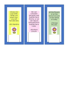 Garden Themed Quotes on Bookmarks (Editable)