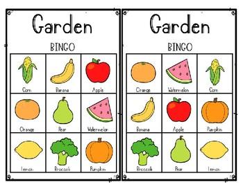 Garden Themed Vegables/Fruits- Bingo Cariboo Memory