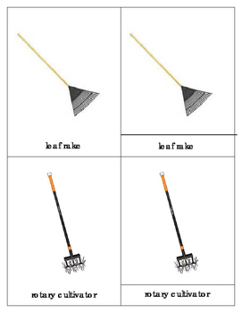 Garden Tools:Montessori  Three Part Cards