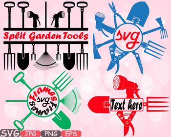 Garden Tools clipart agriculture FARM equipment nature frame spring summer -623s