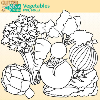 Garden Vegetable Clip Art | Great for Worksheets & Handouts | B&W