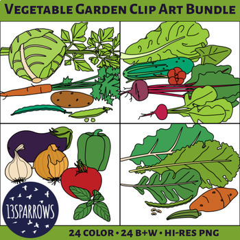 Garden Vegetables Clip Art Bundle