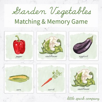 Garden Vegetables Memory Game, Matching Game Preschool
