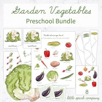 Garden Vegetables Preschool Language, Math & Fine Motor Bundle