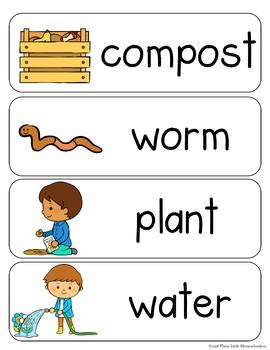 Garden Vocabulary Word Wall Cards plus Write & Wipe Version