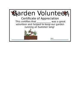 Garden Volunteer Certificate