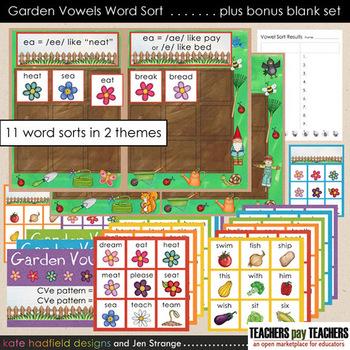 Garden Vowel Word Sort File Folder Game