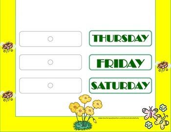 Garden Weekday Chart! Garden Bulletin Board! Garden Theme! Garden Days!