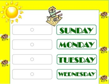 Garden Weekday Chart! Garden Bulletin Board! Garden Theme!