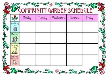 Garden Weekly Job Calendar By Creativity Is Key Tpt
