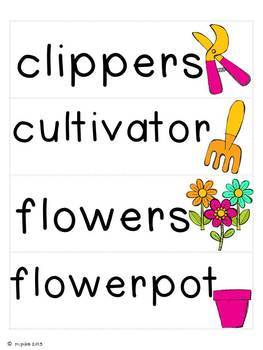 Garden Word Cards and Word Walls {in English and Spanish}