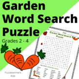 Garden Word Search Puzzle for Early Finishers (Grades 2-4.