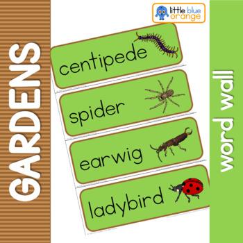 Garden creatures word wall
