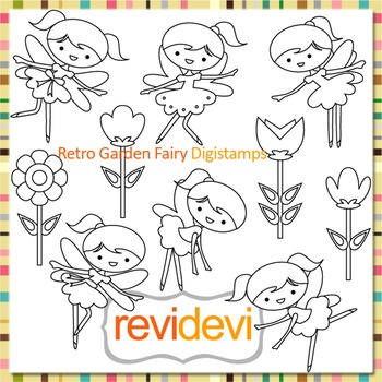 Garden fairies and flowers clip art (digital stamps, coloring) S061