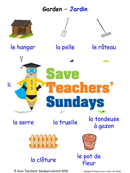 Garden / Yard in French Worksheets, Games, Activities and Flash Cards