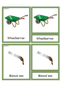Garden tools Montessori  flashcards