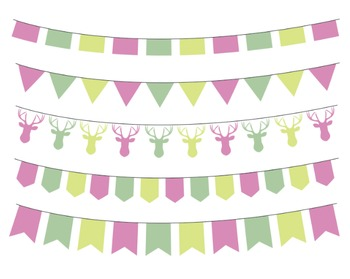 Gardenia Bunting Clipart, Party Flags Clipart Set #011