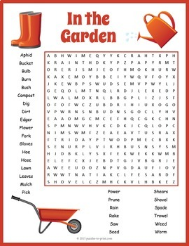 Gardening Word Search Puzzle By Puzzles To Print Tpt