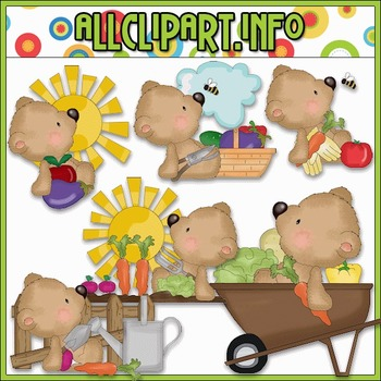 Gardening Bears Clip Art - Cheryl Seslar Clip Art