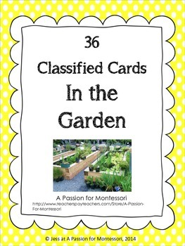 Gardening Classified Cards, In the garden flash cards, Mon