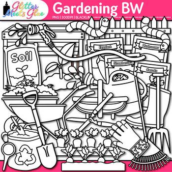 Gardening Clip Art | Vegetables, Seedling, Worms, Hose for Spring Garden | B&W