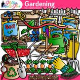 Gardening Clip Art | Vegetables, Seedling, Worms, Soil, & Hose for Spring Garden