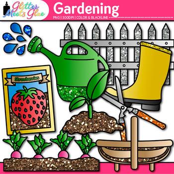 Gardening Clip Art   Vegetables, Seedling, Worms, Soil, & Hose for Spring Garden