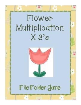 Gardening File Folder Game- Multiplying by 3's