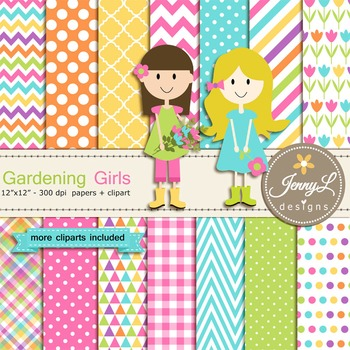 Gardening Girls Digital Paper and Flower Clipart