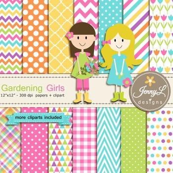 Gardening Girls Digital Paper and Flower Clipart