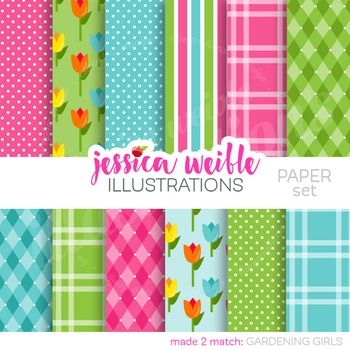 Gardening Girls Matching Digital Papers, Floral Papers