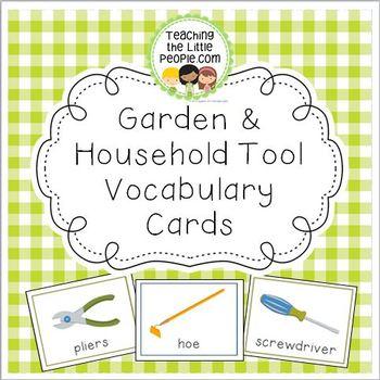 Gardening & Household Vocabulary Cards for Preschool and Kindergarten