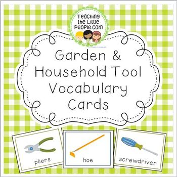 Gardening & Household Vocabulary Cards for Preschool and K