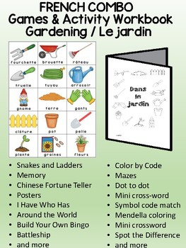 Gardening / Le jardin FRENCH  Games & Mini activity book Combo