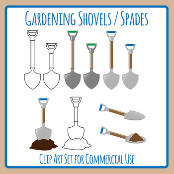 Gardening Shovel or Spade Clip Art Set for Commercial Use